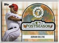 2018 Topps Baseball Update Adrian Beltre 2011 Postseason Logo Patch Card PSL-AB