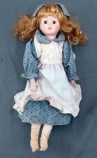 "Vintage Collectible Blonde Hair Blue White Apron Maid 16"" Bisque Porcelain Doll"