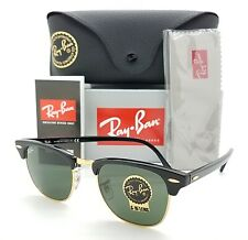 NEW Rayban Clubmaster sunglasses RB3016 W0365 49mm Black Gold Classic Green G-15
