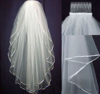 2 layer White or Ivory Wedding Bridal Veil Elbow Length Satin Edge with comb