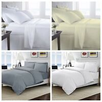 TC 400 Egyptian Cotton 400 Thread Bedding Fitted Flat Sheet Duvet Quilt Set