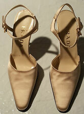 .com Prada fabric heels Mary Jane pointed toe slingbacks satin pumps hardware