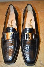 Salvatore Ferragamo Women's Black Croc Embossed Leather Flats Size 5.5B