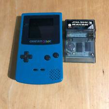 Nintendo Gameboy Color Console Teal Blue + Star Wars Racer Game