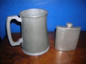 SALE Vintage metalware PEWTER Sheffield HIP FLASK & Harrods Pint TANKARD
