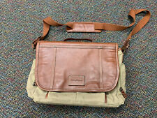 TOMMY BAHAMA MEN'S BRIEFCASE SHOULDER MESSENGER BAG LEATHER & CANVAS VERY RARE!