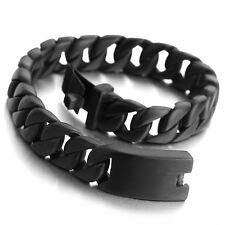 MENDINO Men's 316L Stainless Steel Bracelet Curb Chain Wrist Bangle Black Tone