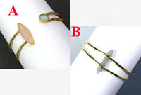 Gold Plated 925 Sterling Silver Jewelry Peach Moonstone Cuff Bracelet MB1598