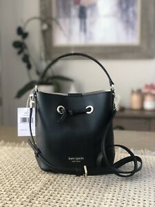 KATE SPADE EVA SMALL BUCKET SHOULDER TOTE BAG CROSSBODY BLACK LEATHER $329
