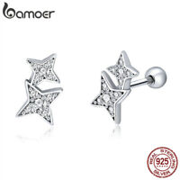 BAMOER 925 Sterling Silver Fascinating Starlight Earrings With AAA Cz For Women