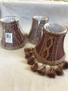 Set Of 3 Tassel Trim Burgandy Lampshades. Faux Leather And Lace Panel