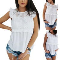 Women Lace Frill Blouse Top Sleeveless Cut Out Summer Beach Ladies Soft T Shirts