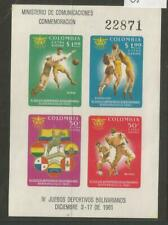 COLUMBIA 1961 MS 1101 FINE UNMOUNTED MINT IMPERF MINI SHEET 4TH BOLIVARIAN GAMES