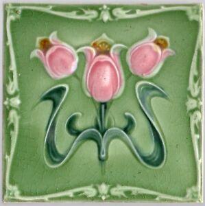 Reclaimed original period antique Art Nouveau Majolica tile rose & green flowers