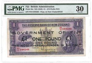 Fiji Emergency Issue Ovpt on New Zealand 1 Pound ND 1942 P-45c Very Fine PMG 30