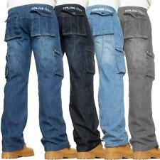 KRUZE Mens Combat Jeans Casual Cargo Work Pants Denim Trousers All Waist Sizes