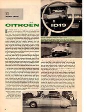 1958 CITROEN ID-19  ~  CLASSIC ORIGINAL 3-PAGE ROAD TEST / ARTICLE / AD