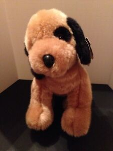 """FIRST & MAIN """"Scooter"""" Black Brown  Plush Stuffed Puppy Dog Bean Fill 3035 NWT"""
