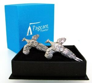 Pheasant English Silver Pewter Cuff Links in Presentation Gift Box