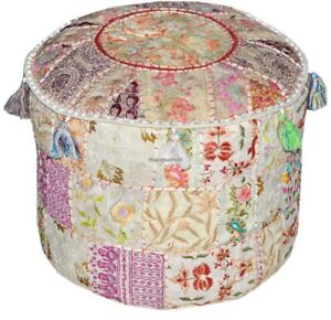 22'' Indian Ottoman Handmade Vintage Embroidered Round Pouf Cover Footstool Art