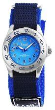Fame Damenuhr Kinder Uhr Analog Armbanduhr Textilklettband Schwarz - Blau  3 ATM