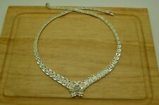 "17.5"" 925 STERLING SILVER FLORAL BEADED FLAT BISMARK CHAIN NECKLACE  #X25629"