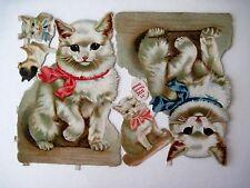 Vintage Die Cuts of Adorable White Kittens w/ Blue & Pink Ribbons (N)*