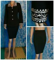 ST. JOHN Evening Knits Black Jacket Skirt L 10 12 2pc Suit Cream Embroidery Trim