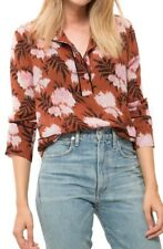 GANNI Monette Brown Floral Georgette Blouse Top 38 uk 10