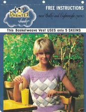 Phentex Chunky BASKETWEAVE Vest Pattern to Knit Uses Only 5 Skeins Art. 1841B
