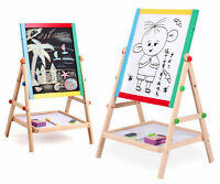 Adjustable 2-in-1 Double sided Wooden Black white Easel Chalk Drawing Board Toys
