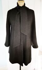 Black scarf neck textured wool A line swing  coat size 14