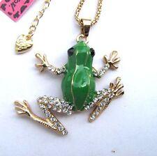 Betsey Johnson Flashes crystal&green enamel Lovely frog pendant Necklace#300L