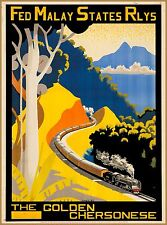 Malaya Malaysia Fed Malay States Railways Vintage Travel Advertisement Poster