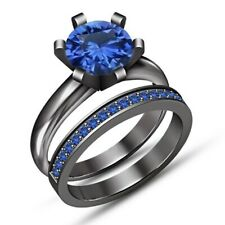 18k Black Gold Fn Round Sapphire Bridal Wedding Engagement Ring Band Set