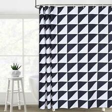 Black White Triangle Geometric Farmhouse Contemporary Fabric Shower Curtain