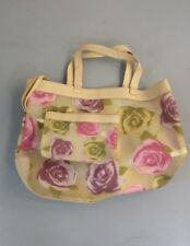 Vinyl Floral Bag With Wallet Cream Women's Tote Bag Clear