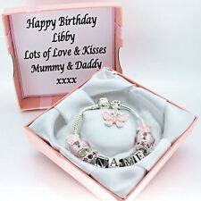 PERSONALISED Jewellery For Girls Pink Bracelet ANY NAME Birthday Gifts FREEPOST