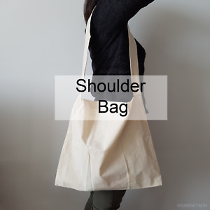 Calico Cotton Shoulder Bags Natural | Eco Friendly Bags Lots from 5 to 100