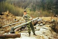 1H18 ORIGINAL KODACHROME 35MM SLIDE 1950s Military Army Soldier in the Woods