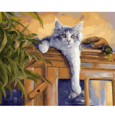 Paint By Number Kit Home Cat Art Draw DIY Picture Artwork 40x50cm Canvas Décor