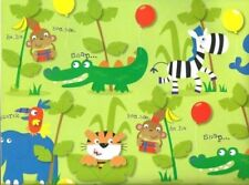 2 Sheets Gift Wrapping Paper HAPPY BIRTHDAY Boys Kids Jungle Animals Monkey