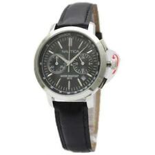 New Nautica Women Chronograph Black Leather Band Date Watch 40mm N18617M $185