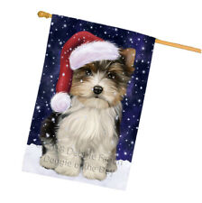 Christmas Holiday Biewer Terrier Dog Wearing Santa Hat House Flag Flg54478