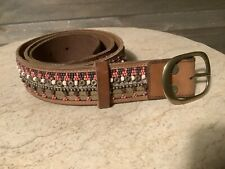 LUCKY BRAND Womens MEDIUM BROWN LEATHER BELT EMBELLISHED SIZE SMALL $79.50