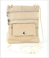 "Light Beige Li Leather Neck Purse with String 7"" x 5.5"" with Zipper Pockets C-13"