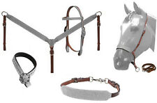Western Bling ! Glitter Leather Tack Set Horse Bridle Headstall w/ Breast Collar
