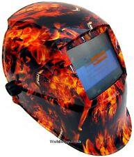 Auto Oscurecimiento Casco Soldadura Soldadores Máscara energía solar Diseño monstruo de fuego