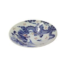Chinese Blue White Dragon Painting Porcelain Charger Plate Bowl cs4820