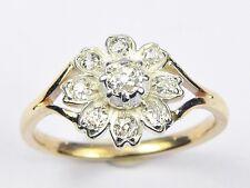 AMAZING ANTIQUE EDWARDIAN ENGLISH 9K GOLD SILVER 0.65ct FLOWER DIAMOND RING 1910